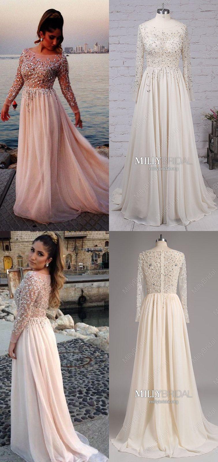 Pearl pink prom dresses for teenslong prom dresses alinechiffon
