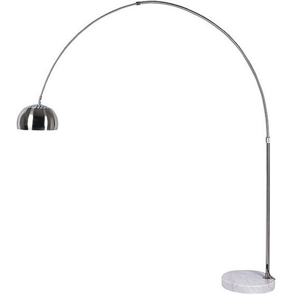 Arch 1 light stainless steel brushed nickel floor lamp decor position this striking stainless steel floor lamp behind a sofa or in a corner yet have it available as a reading or task lamp thanks to its graceful arc mozeypictures Image collections