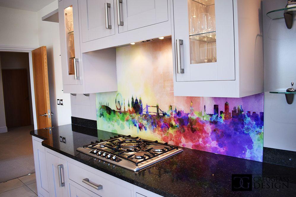 Stenciled Splashbacks Glass Kitchen Kitchen Kitchen Decor