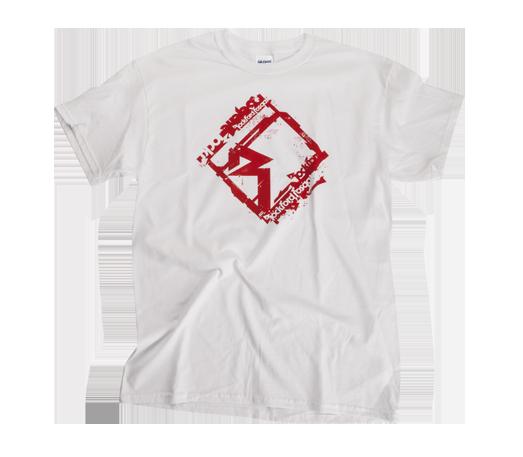 "A bright white t-shirt featuring a large ""Diamond-R"" logo and multiple  ""Rockford Fosgate"" logos. ea493b362ae05"