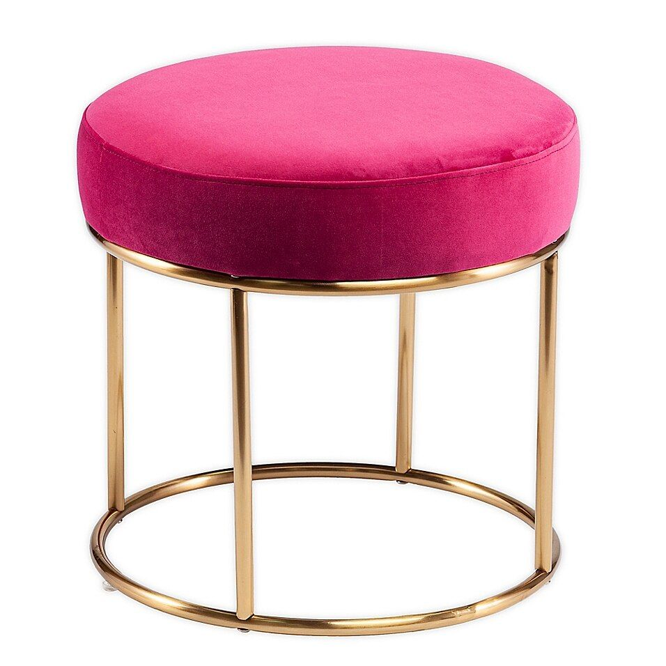 Crexdale Round Upholstered Ottoman In Pink Bed Bath Beyond In 2020 Upholstered Ottoman Round Ottoman Upholstered Footstool