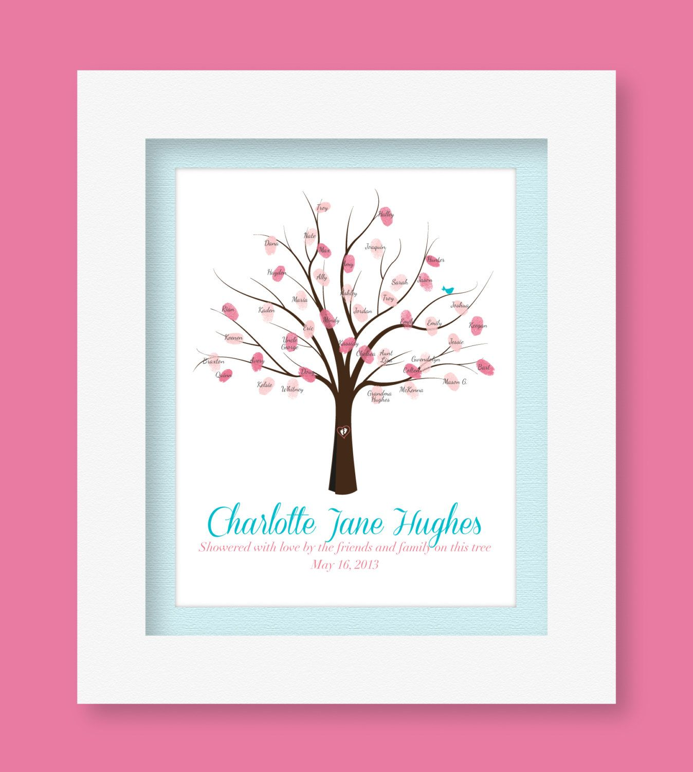 Personalized Baby Guestbook Tree Printable - perfect for baby blessings or baby showers! $7.95, via Etsy.