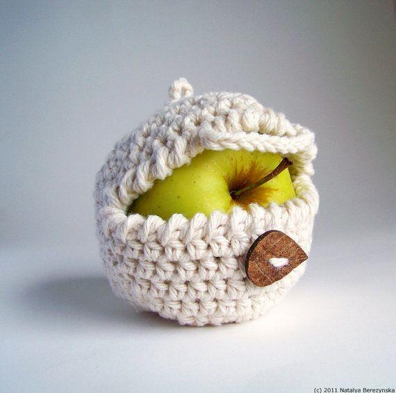 White Apple Cozy, Crochet Apple Cozy, Cream Fruit Cozy -  Summer Farm Rustic Harvest Cotton Lunch Geometric