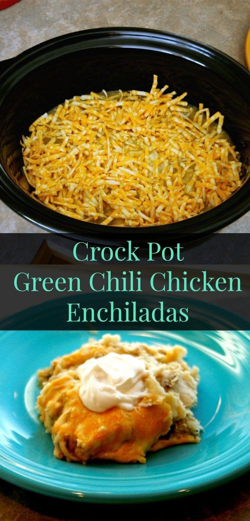 Crock Pot Green Chili Chicken Enchilada Casserole images
