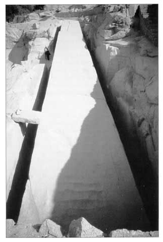 Unfinished obelisk (42m, 1200 ton) at Aswan [Parry, Engineering the Pyramids]. How did they plan to raise and transport this obelisk? What was this to be used for?