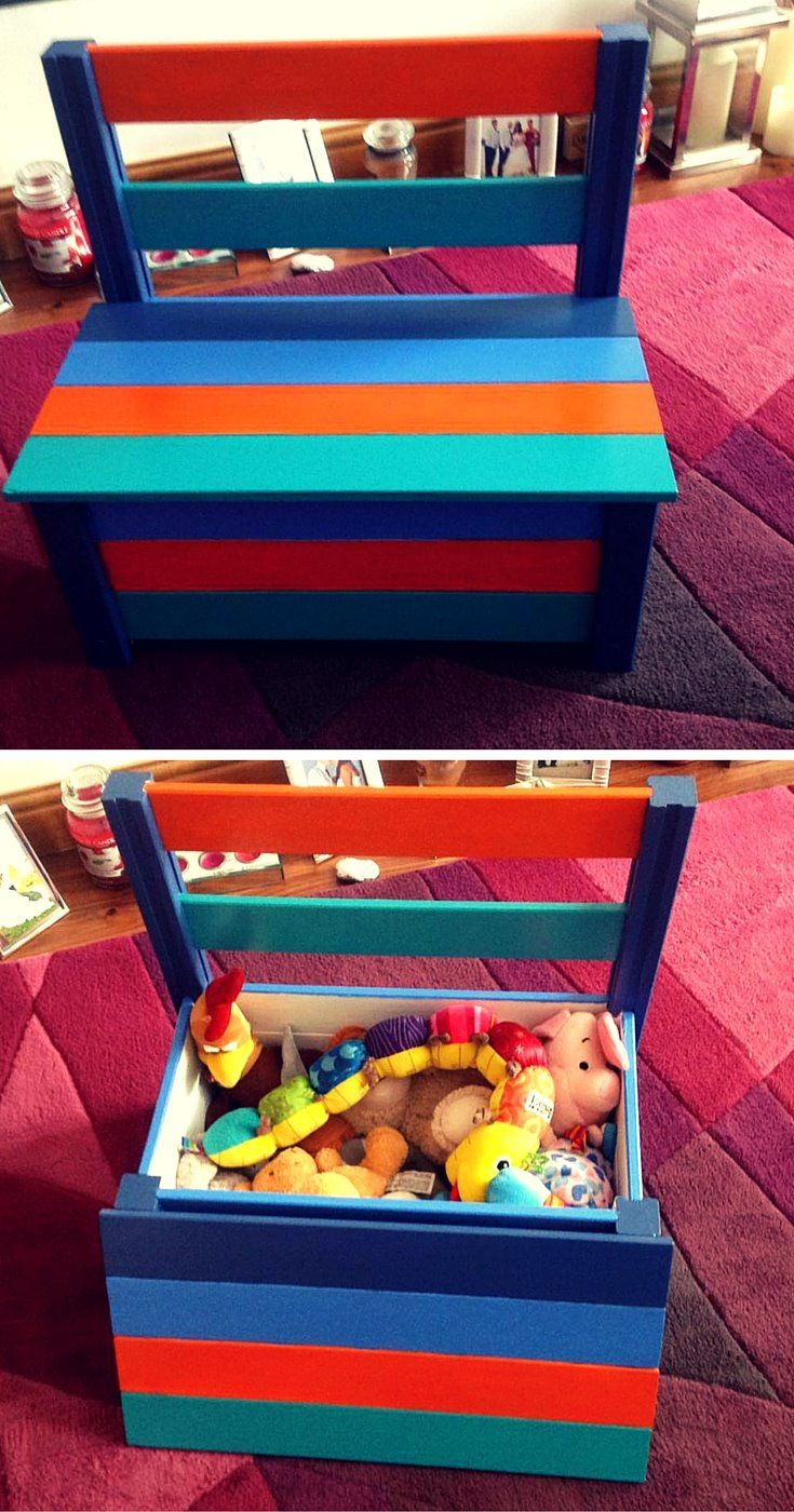 Blue Storage Kids Toy Box Playroom Furniture Bedroom Girls: Colorful Pallet Toy Box And Chair