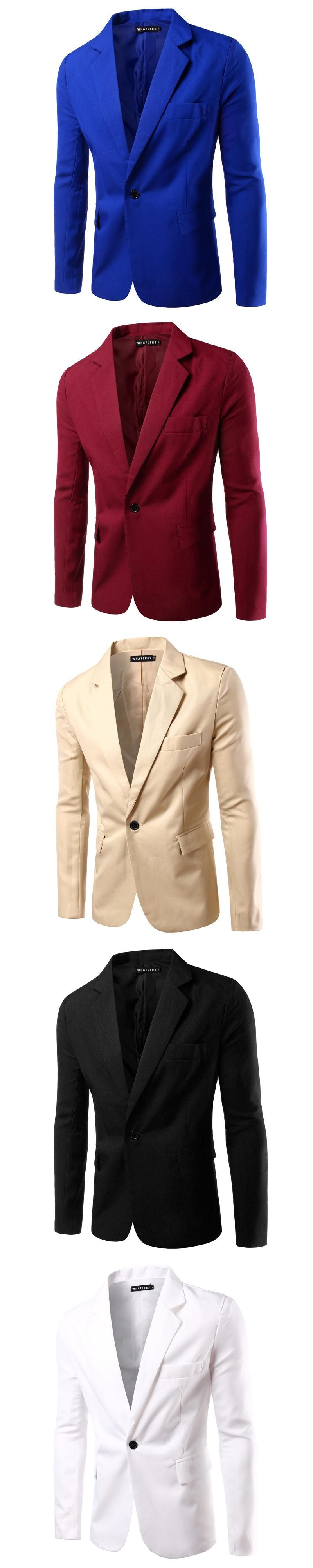 Mens One Button Solid Color Suit Jackets New Fashion Business