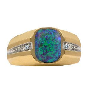 Mens Yellow Gold and Diamond Australian Opal Ring Men ring