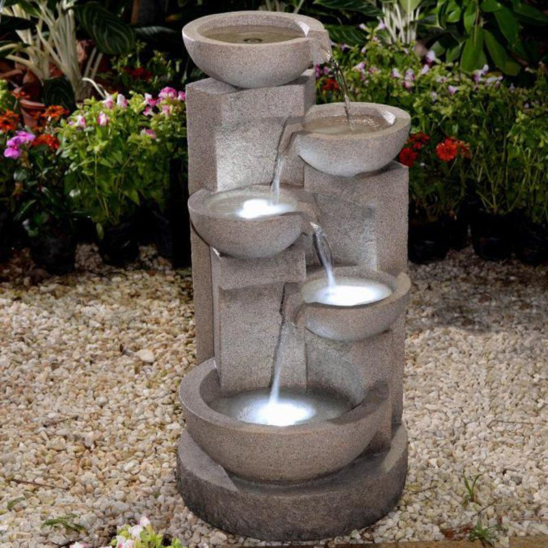 Resin Fiberglass Multi Tier Bowl Fountain With Led Light Fountains Outdoor Water Fountains Outdoor Tabletop Fountain