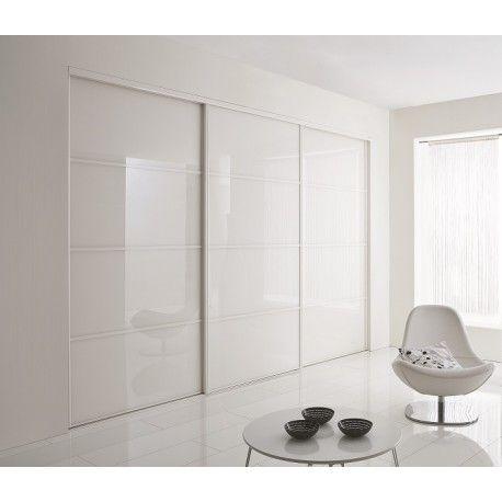 Portes coulissantes de placard en verre laqué blanc - Acheter en