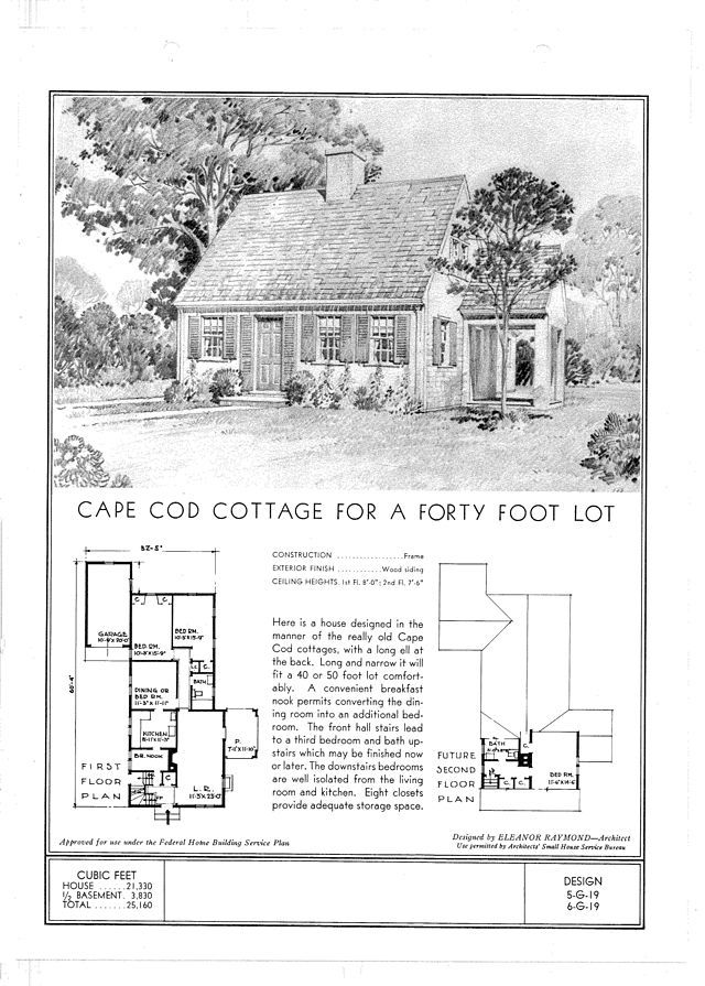 Standard Floor Plans For A Cape Cod Cottage Ca 1940 Cape Cod