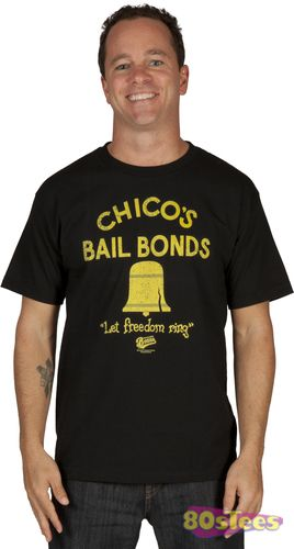 98bd4f6f0b5 This Bad News Bears shirt features the logo and slogan of the team's  sponsor, Chico's Bail Bonds, with the movie logo printed on the left sleeve.
