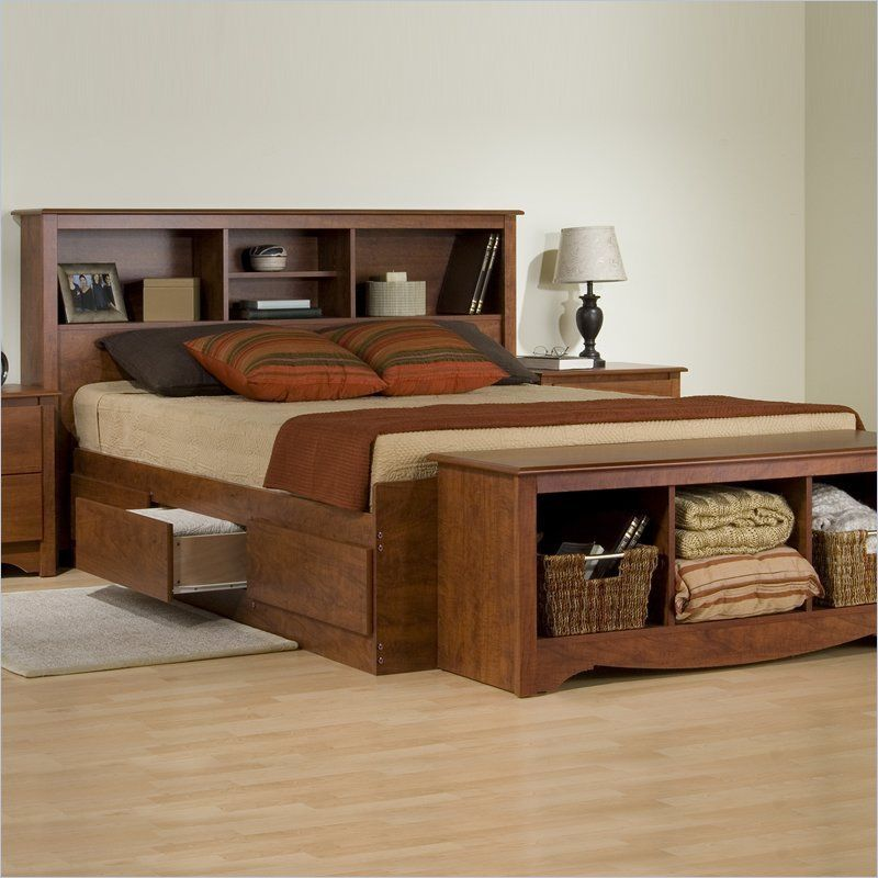 Cherry 6 Drawer Queen Platform Storage Bed Headboard Bed
