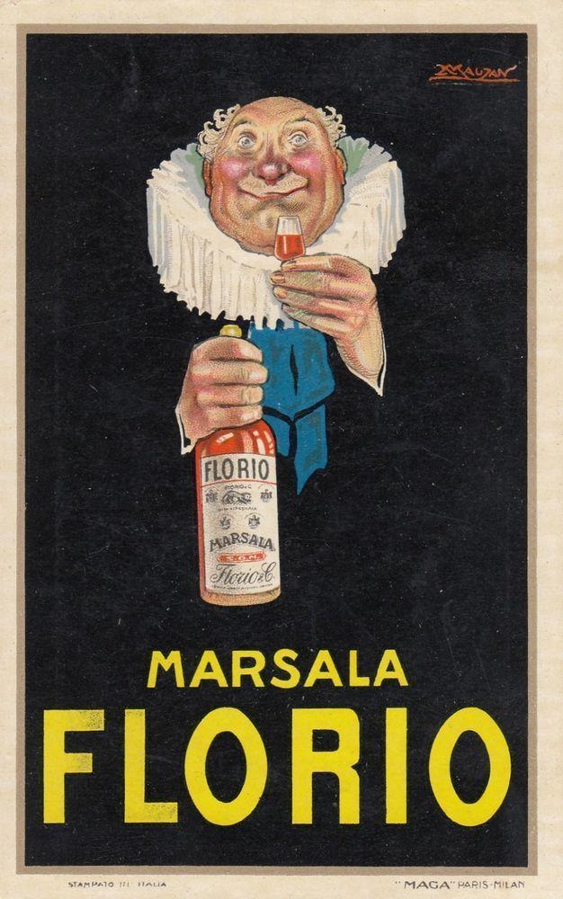 Marsala Florio VINTAGE AD POSTER Plinio Codognato ITALY 1930 24X36 hot RARE