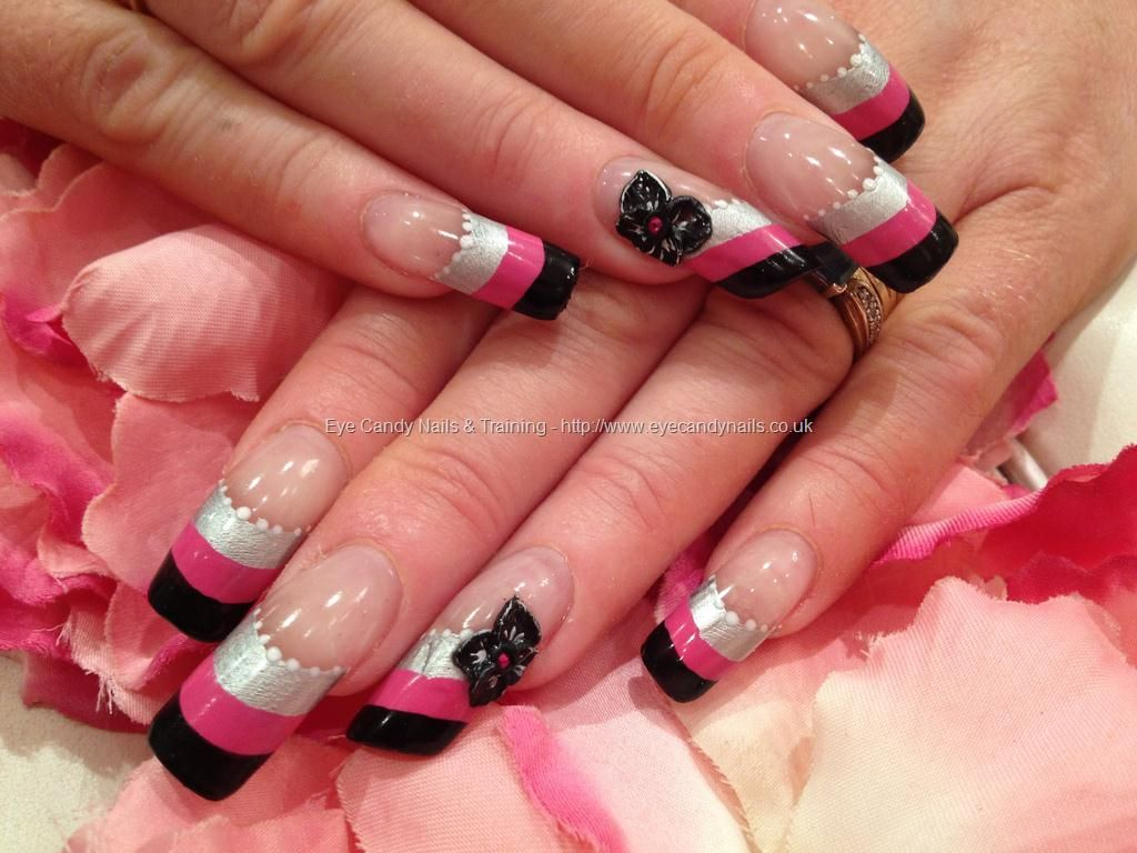 Silver pink and black striped nail art with 3d acrylic flowers silver pink and black striped nail art with 3d acrylic flowers and swarovski crystals on prinsesfo Images