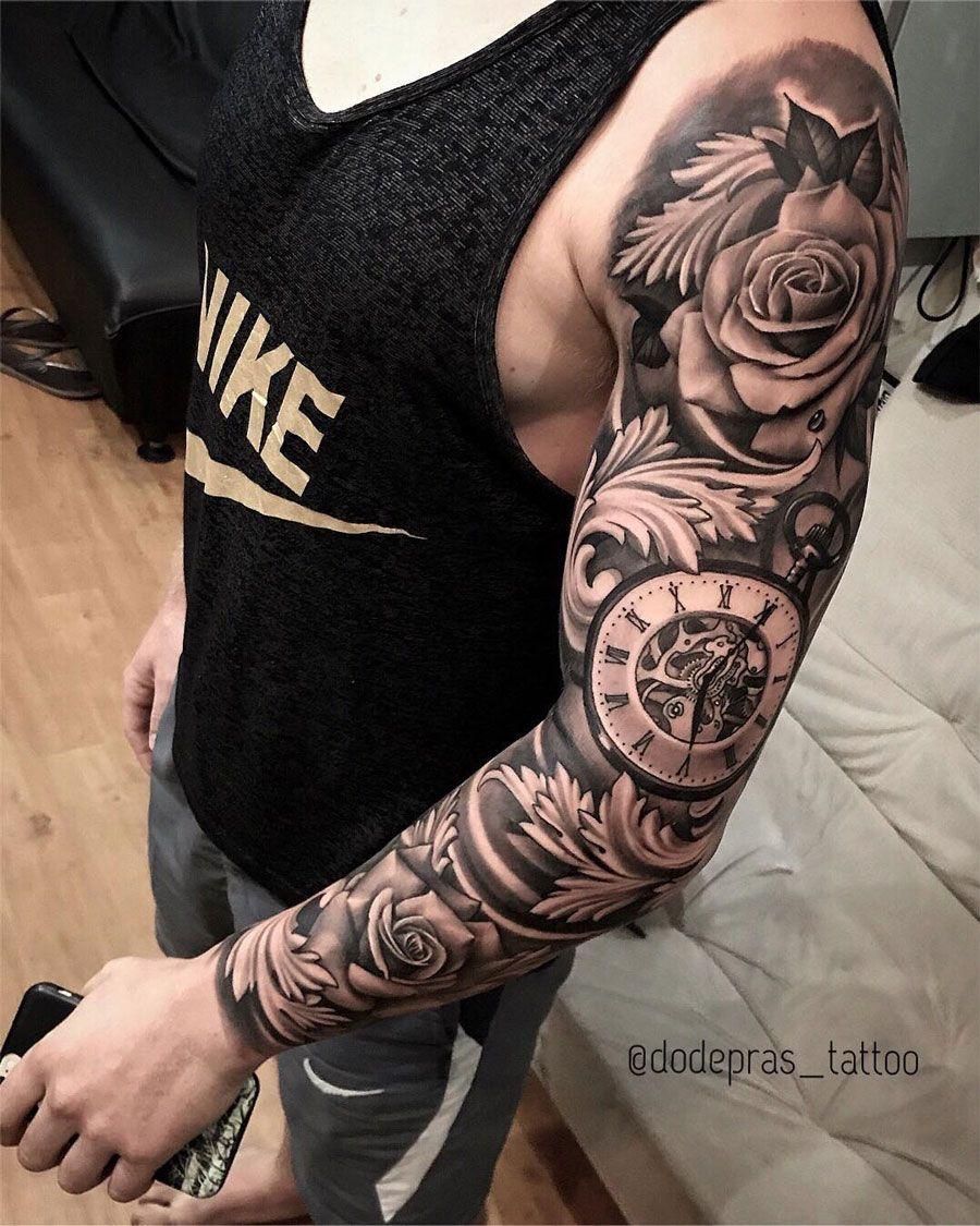 Roses Pocket Watch Best Tattoo Design Ideas Best Sleeve Tattoos Clock Tattoo Sleeve Sleeve Tattoos