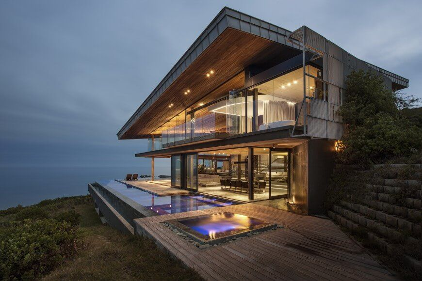 Dazzling Cliff Top Modern Wood Glass And Concrete Home By Saota