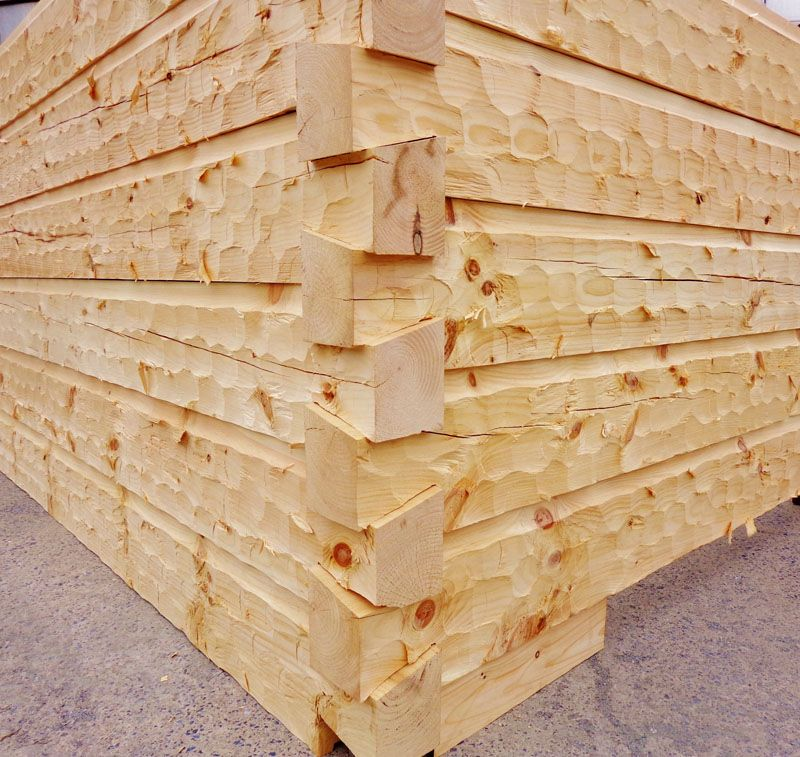 6 x 12 hand hewn logs with dovetail corner and square for Hewn log cabin kits