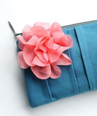 Bridesmaid Clutch Coral Pink and Blue Personalized by allisajacobs