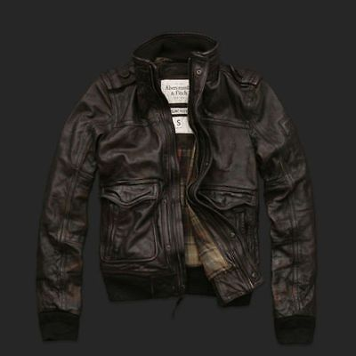 5dc43ac2579 ABERCROMBIE-FITCH-SLANT-ROCK-BROWN-LEATHER-JACKET-AVIATOR-BOMBER-Mens-Small