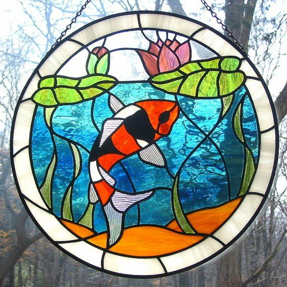 Orange black and white koi fish stained glass suncatcher for Stained glass fish patterns