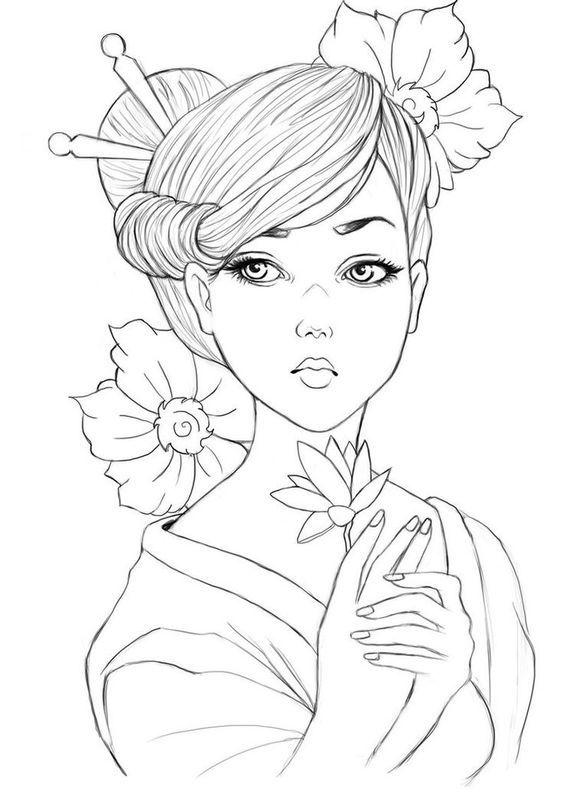 Картинки японских девушек для срисовки, днем