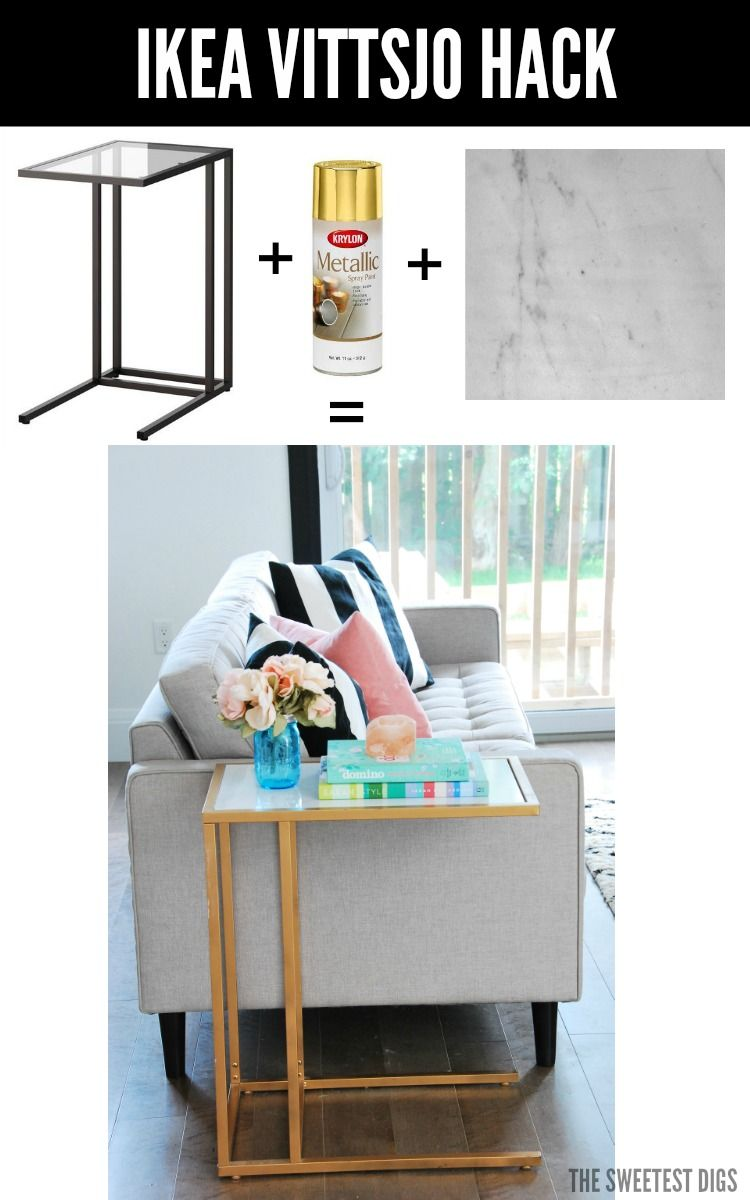 Ikea Hack Turn The Vittsjo Into A Gold And Marble Side Table Ikea Vittsjo Ikea Diy Diy Ikea Hacks [ 1200 x 750 Pixel ]