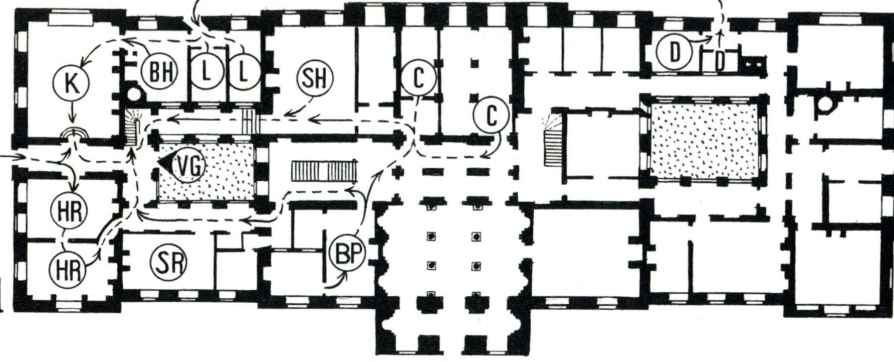 Harewood House plan of the basement floorThe codes for the rooms – Harewood House Floor Plan