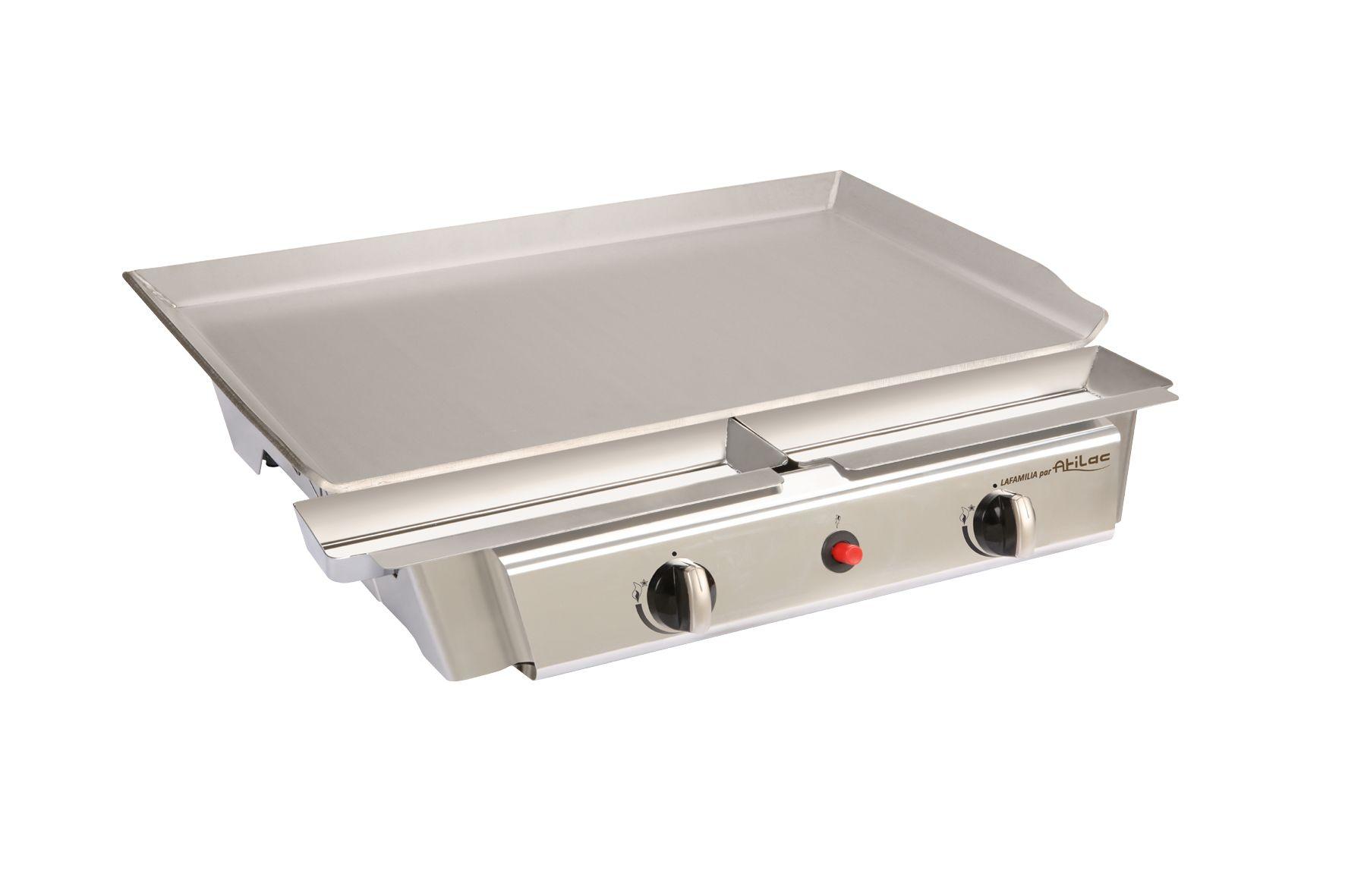 Plancha gaz inox Lafamilia conçue pour 5 à 9 personnes. Des repas savoureux à découvrir sur http://www.plancha-sevillana.com/produit/plancha-gaz-lafamilia/