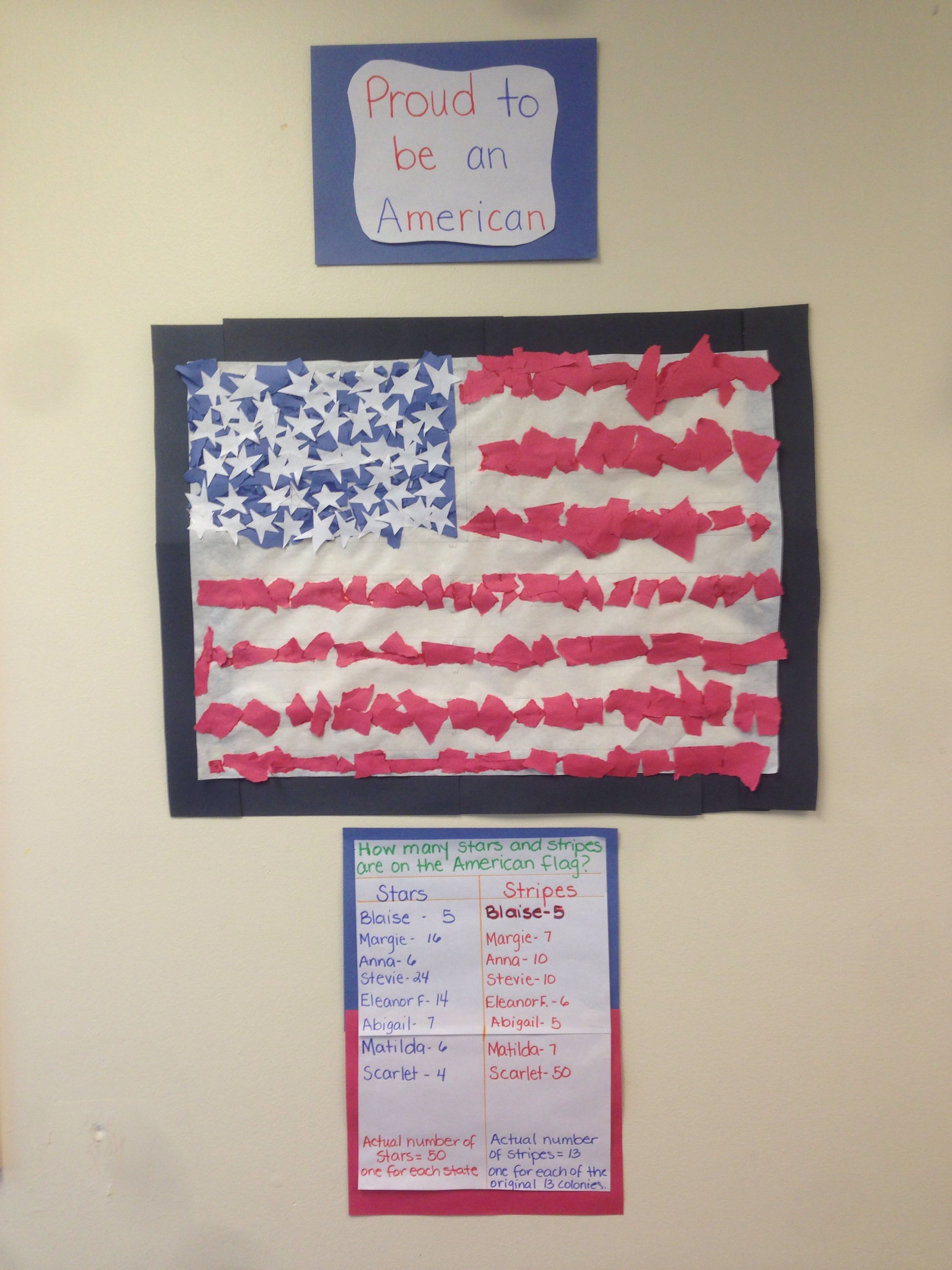 American Flag Preschool Children Ripped Up Pieces Of