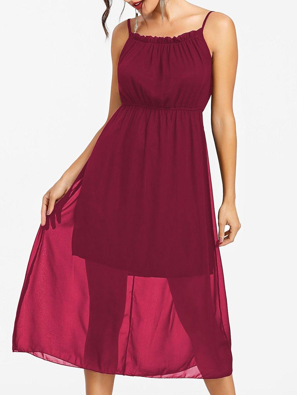 918457a9e77f High Waisted Spaghetti Strap Chiffon Dress - RED WINE S | WOMEN'S ...