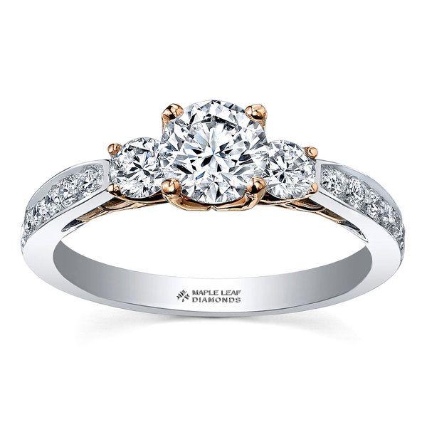 Maple Leaf Diamonds 18ct Two Colour Gold Diamond Three Stone Engagement Ring