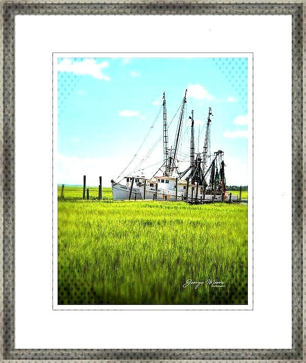 Shrimp Boat Framed Art Print -    In the South Carolina low country near Beaufort, Miss Lilly and A