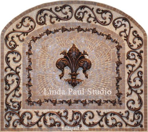 Arched Fleur de Lis Backsplash Tile Mosaic Medallion in lots of