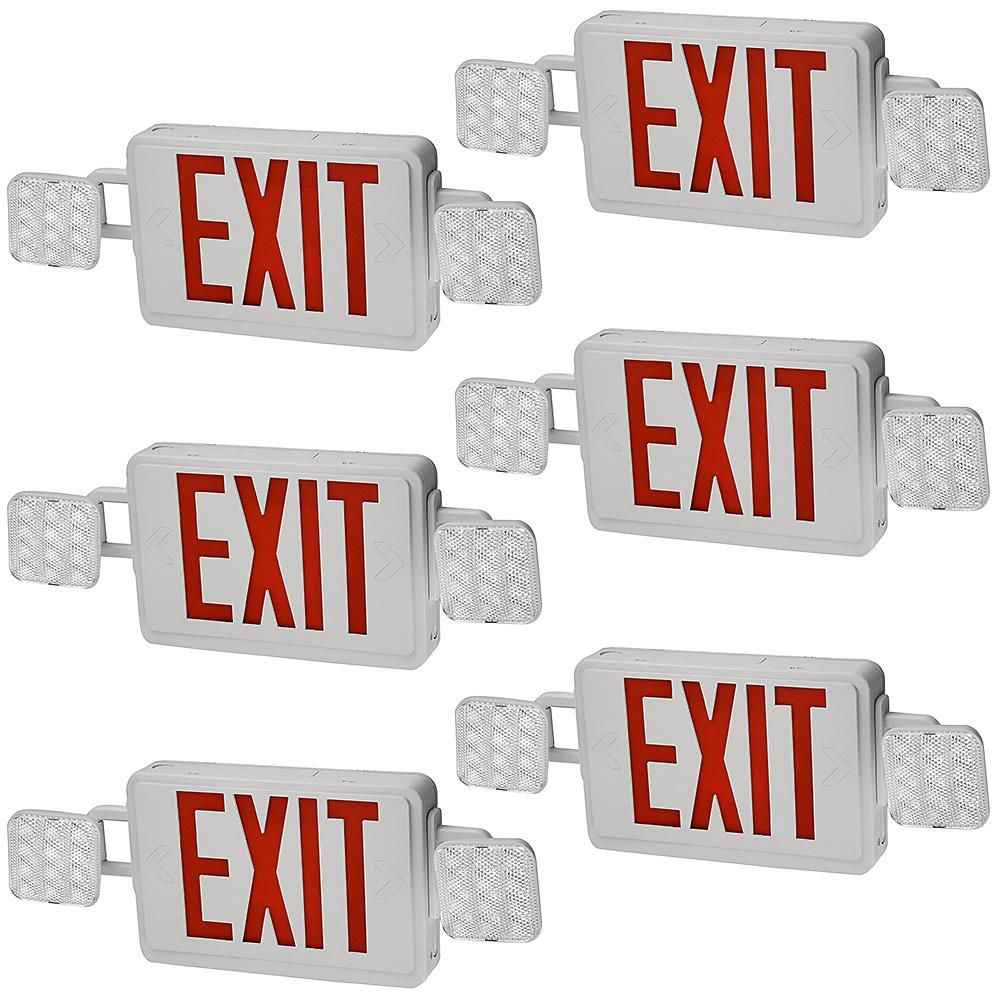 Eti 60 Watt Equivalent Combo Integrated Led White Direct Wire With Emergency Light Exit Sign Battery Backup 6500k 6 Pack In 2020 Emergency Lighting Exit Sign Signs