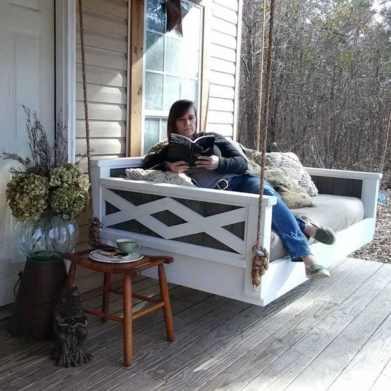 Twin Size In Pine With Ultra White Paint Frame W Grey Batten Insert Hanging Daybed Porch Swing Bed Daybed Swing