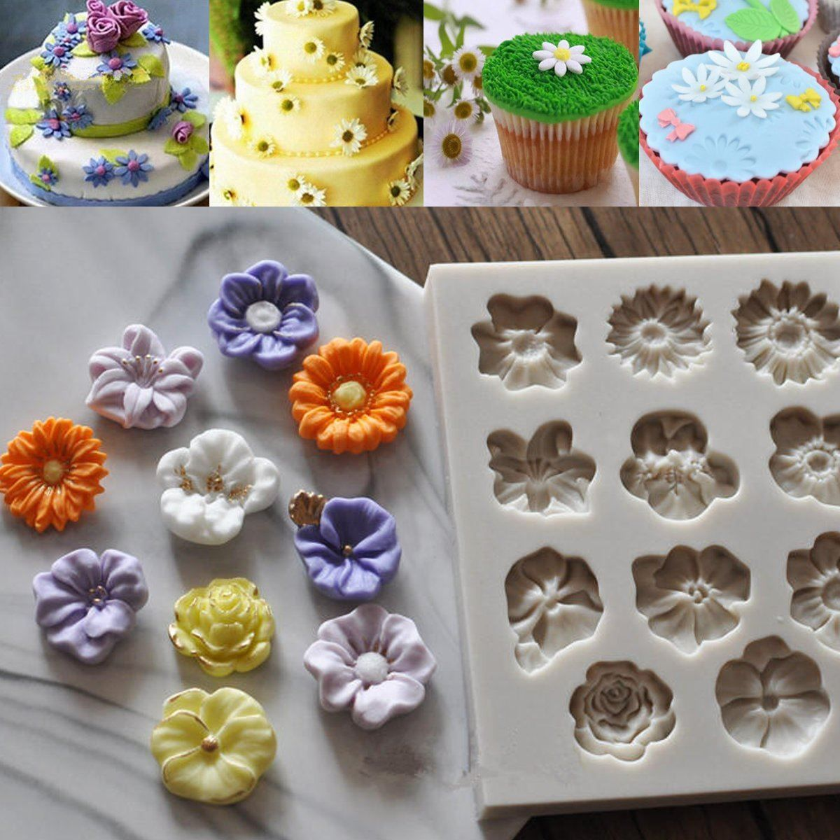 Find More Cake Molds Information About Diy Silicone Daisy Rose