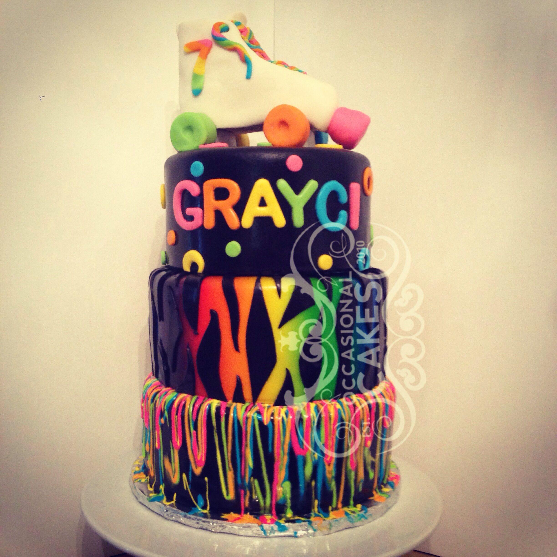 Retro Neon Rollerskate Birthday Cake Occasional Cakes - Neon birthday party cakes