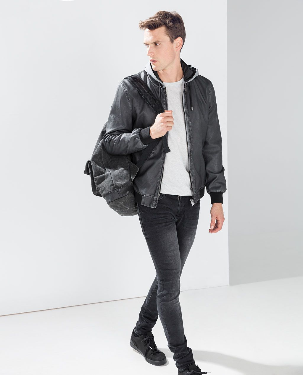 46bc82a8 Image 1 of FAUX LEATHER HOODED JACKET from Zara | Men's fashion ...