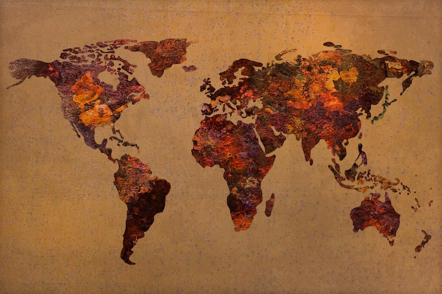 Rusty Mixed Media Rusty Vintage World Map On Old Metal Sheet Wall