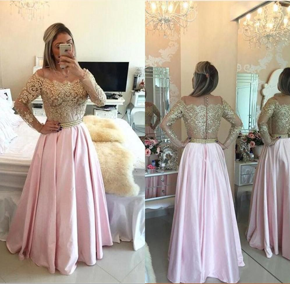 Arabic dubai illusion lace long sleeve evening gowns robe gold