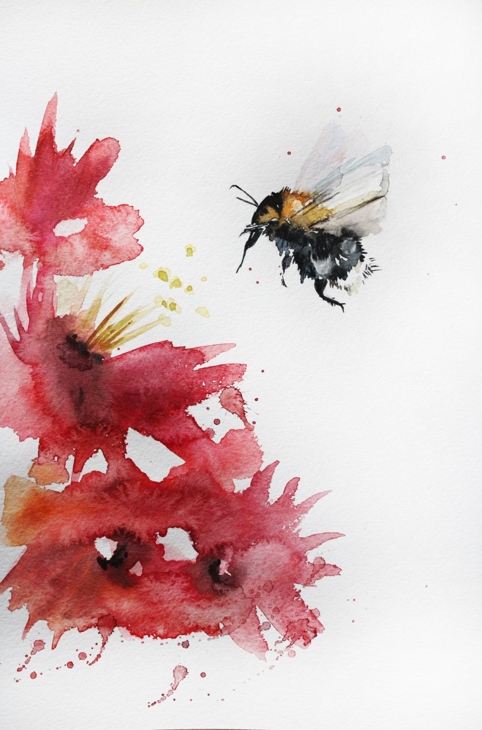 ORIGINAL Watercolor BEE Painting Bumblebee Honey Bee Original Home Decor