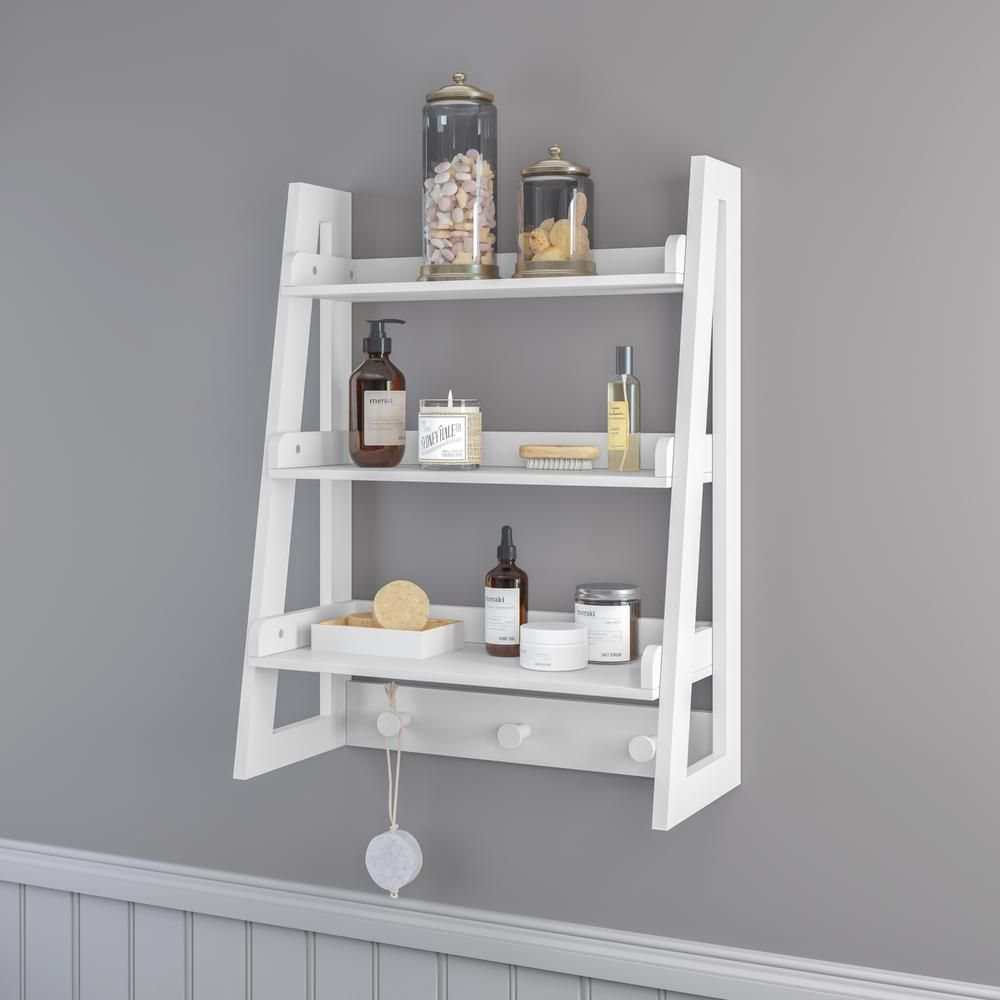 Riverridge Home Amery Collection 19 81 In W Wall Shelf With Hooks White 06 096 The Home Depot Wall Shelf With Hooks Bathroom Wall Shelves Wall Shelves