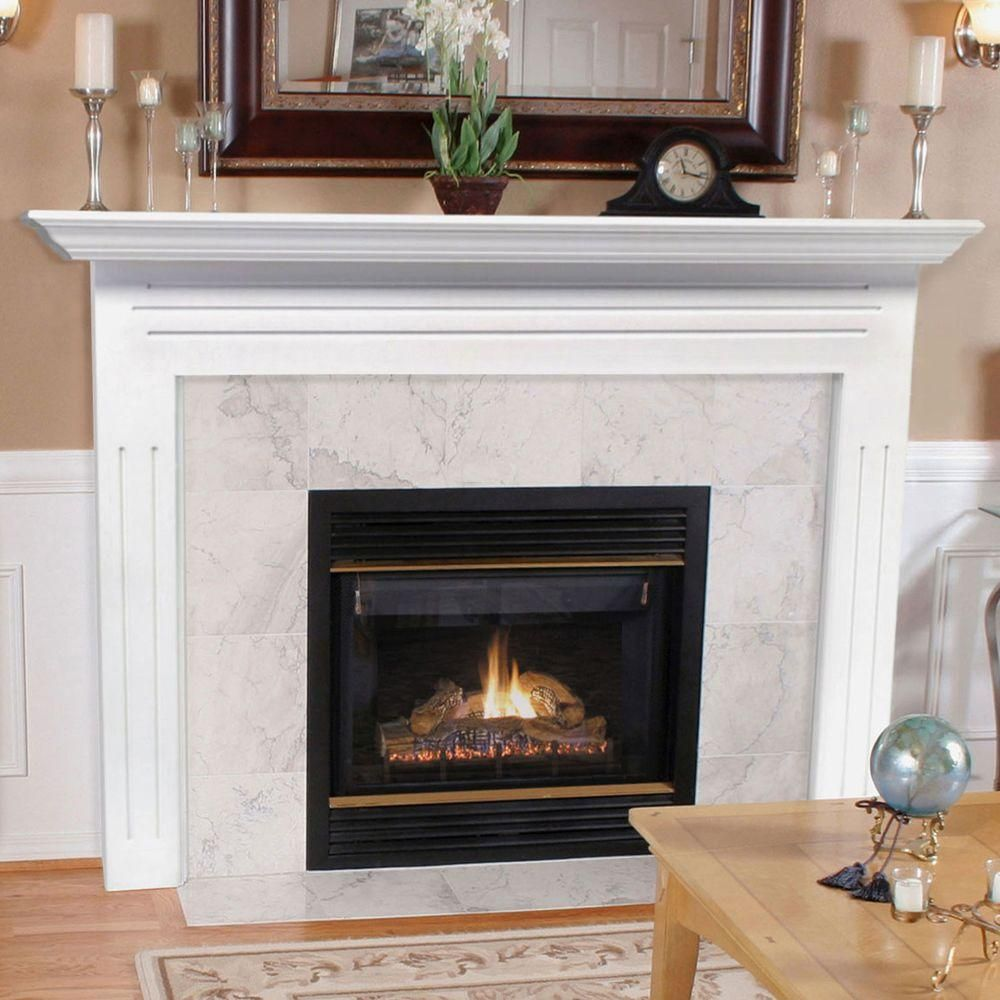 The Newport 65 In X 51 In Mdf White Full Surround Mantel 510 48 The Home Depot Fireplace Mantel Surrounds Fireplace Mantel Designs Fireplace Tile