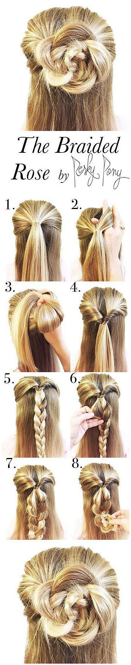 Easy half up half down hairstyles the braided rose