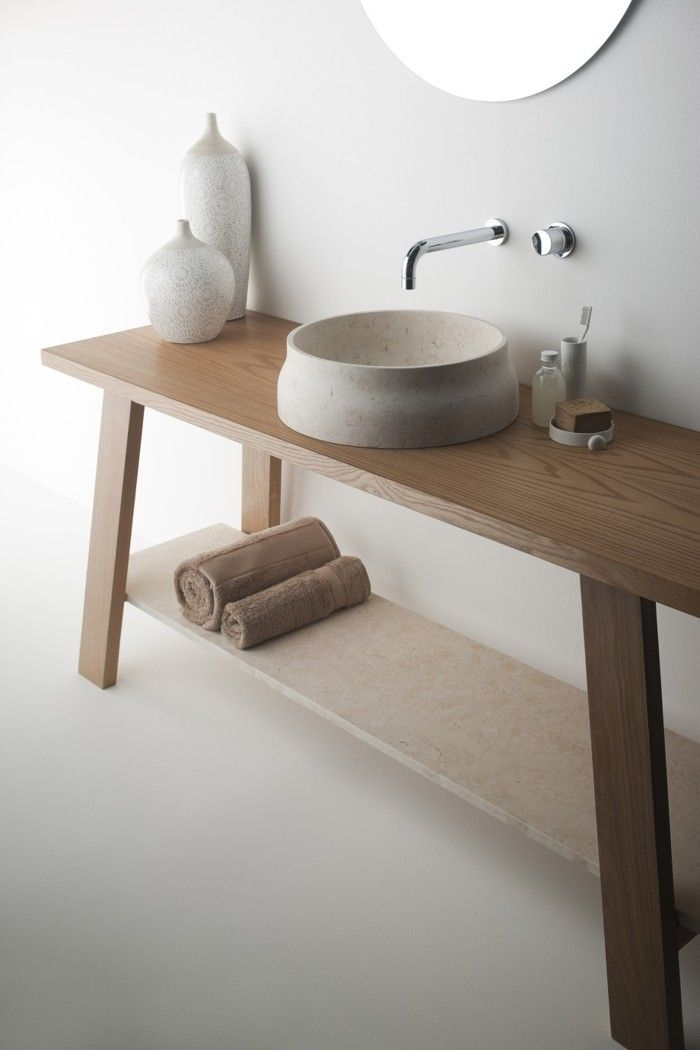 waschbecken design marmor naturstein helles holz Badezimmer - dekoration für badezimmer