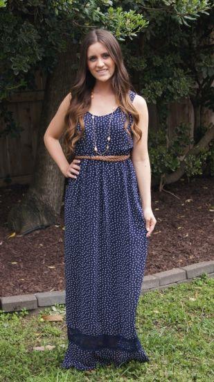 Beautiful Beaux Maxi Dress Adorable navy maxi dress. This dress has so many  details...cute little cream bows print 1cb4c018e