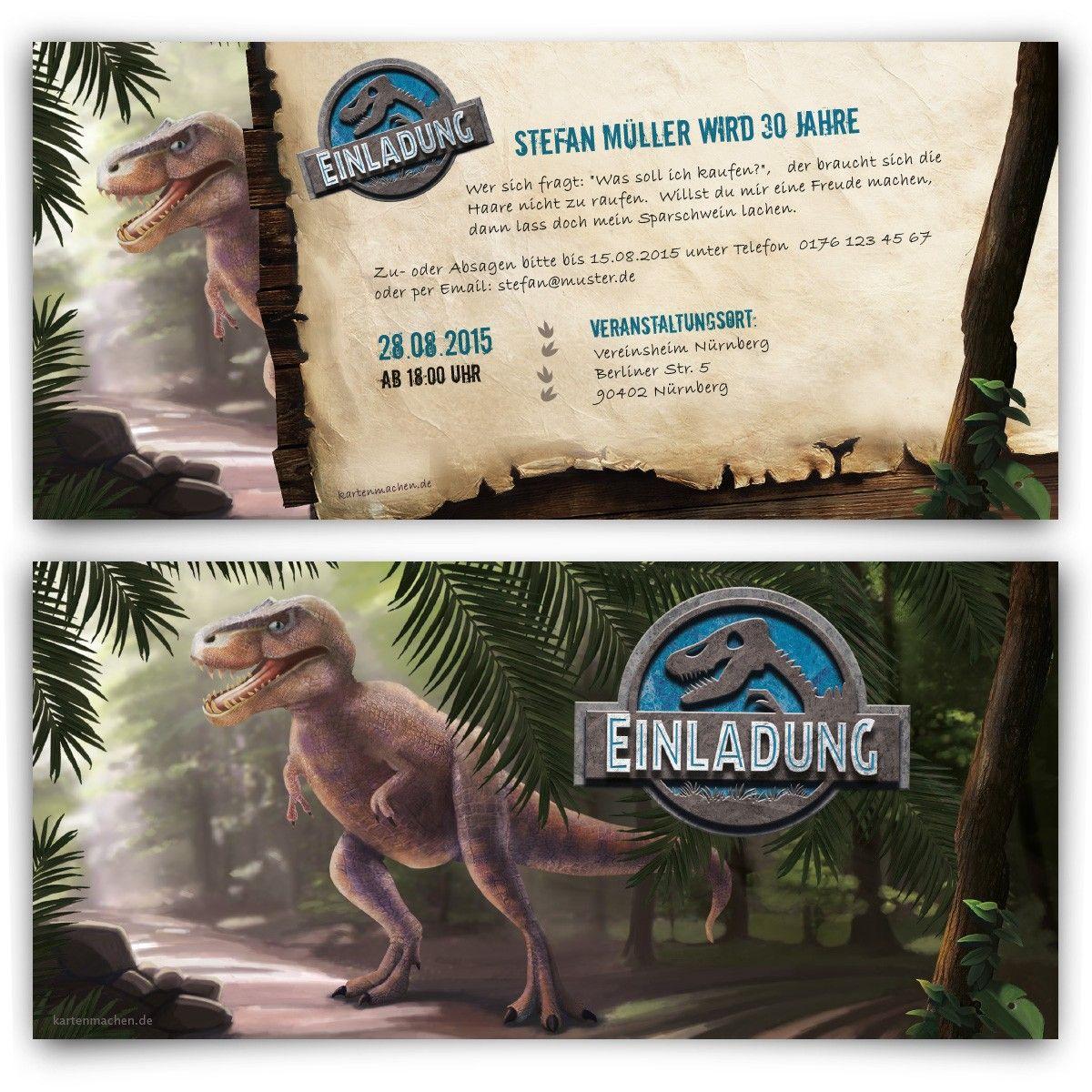 Einladungskarten Im Dinosaurier Motiv Mit Eigenem Text In DIN Lang  Individuell Bedruckt Bereits Ab U20ac Auf Kartenmachen.de Versandkostenfrei  Online Bestellen!