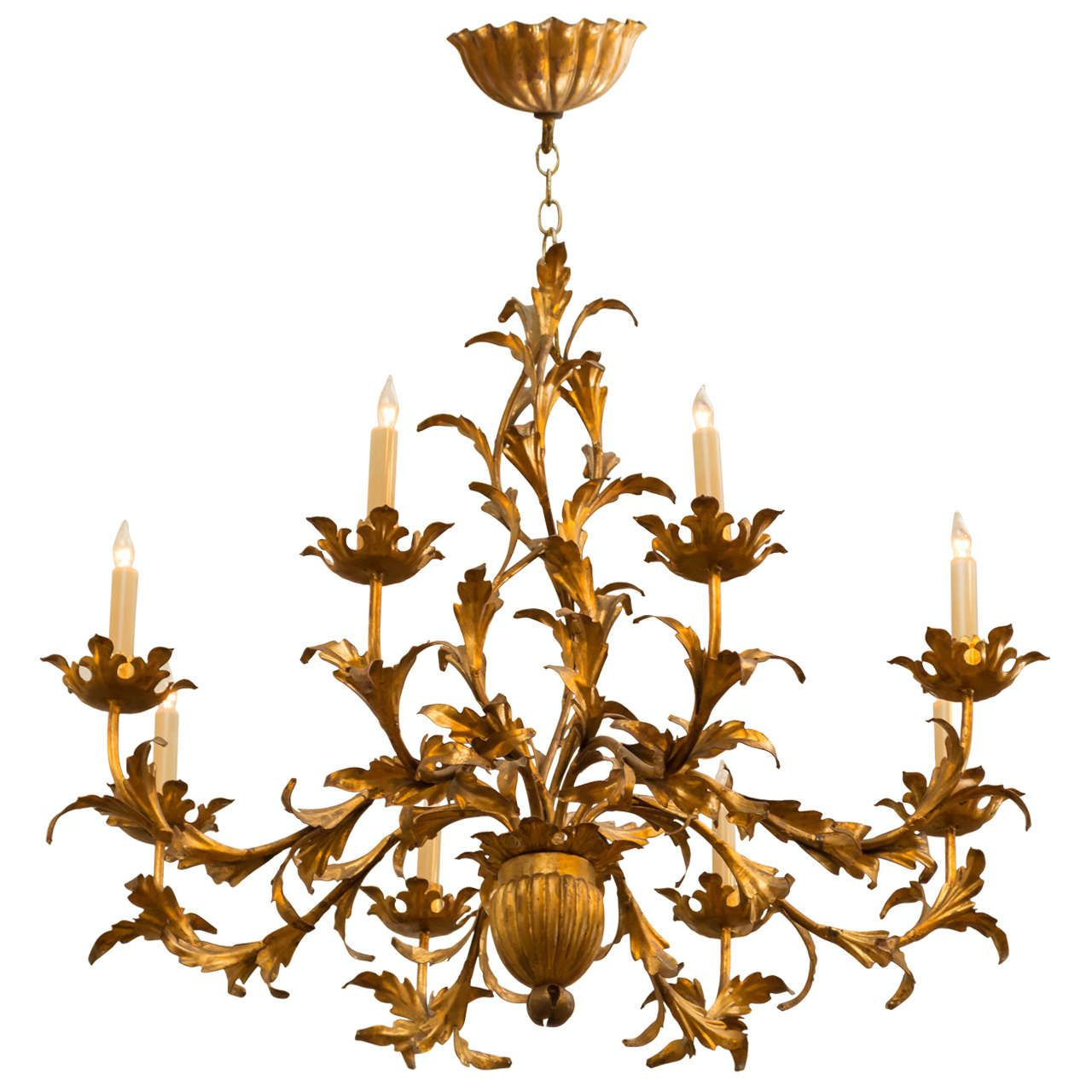 1950s italian gilt tole chandelier 1950s chandeliers and pendant 1950s italian gilt tole chandelier arubaitofo Image collections
