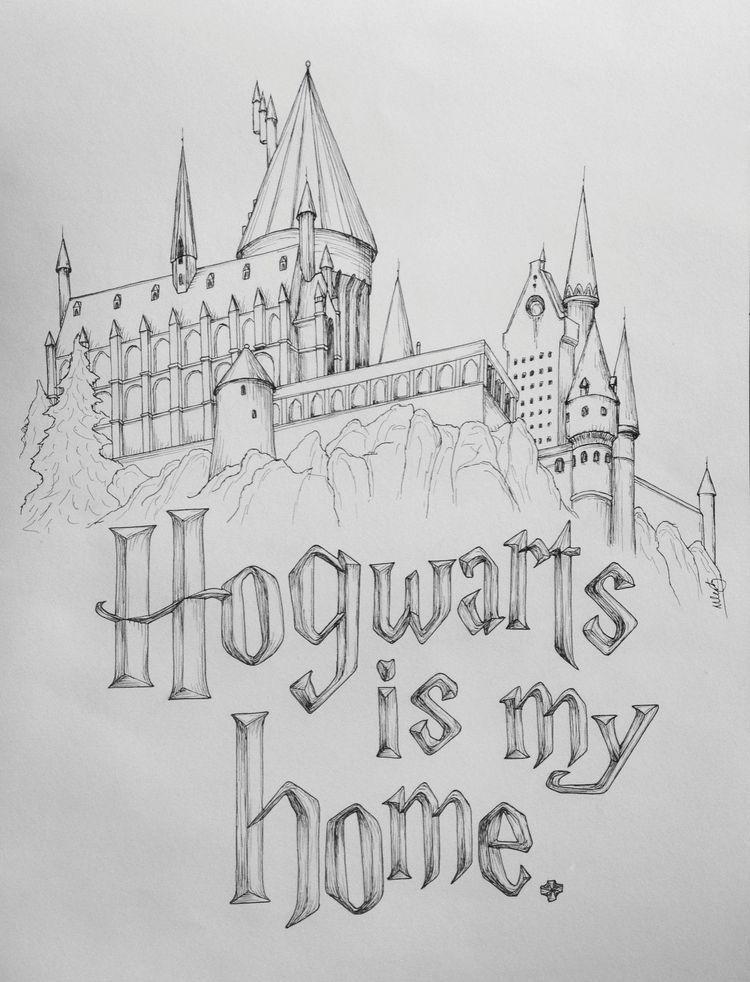 Hogwarts Is My Home Drawing Das Schonste Bild Fur Decorative Pillows Das Zu Ihrem Vergnugen Passt In 2020 Coole Bilder Zum Zeichnen Harry Potter Tumblr Zeichnen
